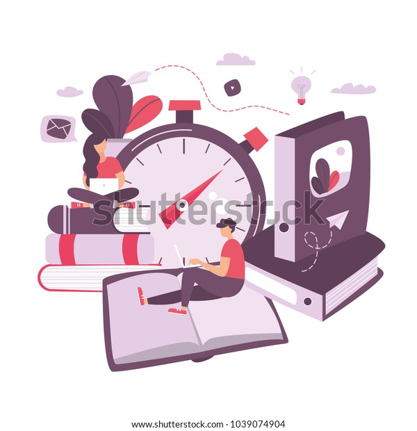 Vector Color Illustration Distance Learning Online Stock Vector