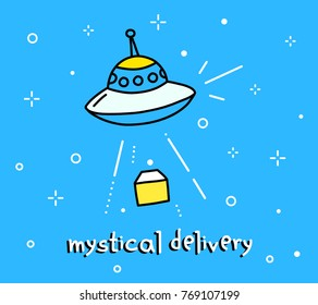 Vector color illustration of flying saucer abducts parcel. Space cartoon object on blue sky background with text. Line art flat style hand drawn doodle design of ufo delivery for web, site, banner