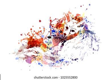 Vector color illustration Fox
