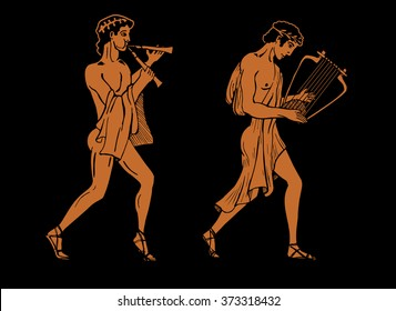 Vector color illustration of Greek musicians.