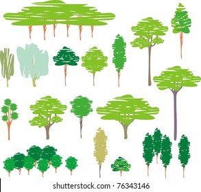 Vector color illustration isolated trees â?? cartoon set of silhouettes