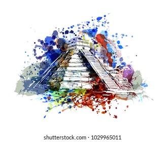 Vector color illustration of mayan pyramid