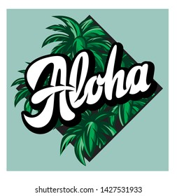 Vector color illustration on aloha with a palm.