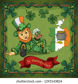 vector color illustration on the theme of St. Patricks day celebration, leprechaun dwarf sitting with a glass of beer