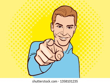 Vector color illustration - pop art style. A beautiful man pointing finger. A beautiful man makes a gesture with his hand, pointing finger. Vector illustration.