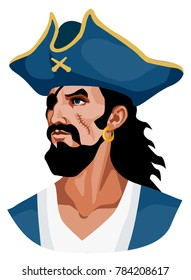 vector color illustration - portrait of an ancient sailor in a cocked hat, with a bandage on his eye, with a scar on his cheek
