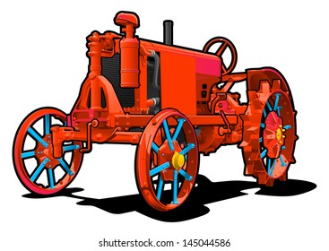 Vector color illustration of red  tractor. Simple gradients only - no gradient mesh.