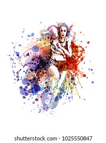 Vector color illustration of a running woman