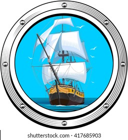 Vector color illustration of a sailing ship. Porthole