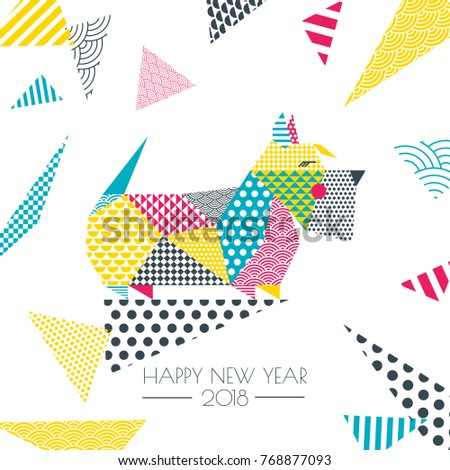 Vector color illustration scottish terrier dog stock vector royalty vector color illustration of scottish terrier dog with patchwork geometric triangle texture creative new year m4hsunfo