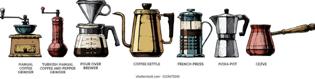 Vector color illustration set of coffee preparation. 7 objects included: Manual and turkish grinder, Pour over brewer, kettle, French press, Moka pot, Cezve