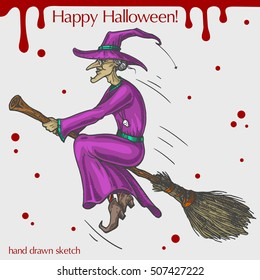 Vector color illustration of smiling witch flying on the broom,blood stains,text Happy Halloween on the grey background.Hand drawn sketch in vintage style of the old woman in hat with broom.