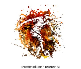 Vector color illustration of a soccer player