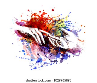 Vector color illustration of touching hands
