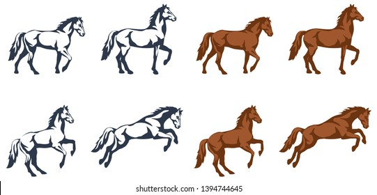 vector color illustrations - a set of images of a horse figure in different phases of movement and in different stylization techniques