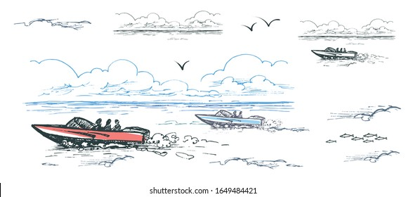 Vector color image of motor boats with people among the water, clouds and gulls.