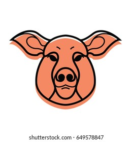 vector color image of swine or pig head - mascot emblem