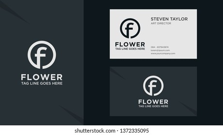 Vector color Letter F with business card template. Graphic fork icon symbol for Business, Technology, Corporate Identity. Initial Logo F, Elegant corporate identity, Simple elegant Logo F.