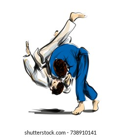 Vector color line sketch fighting judo