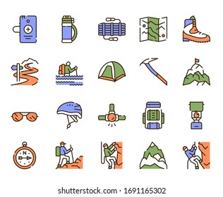 Vector color linear icon set of climbing and hiking. Modern thin line symbol collection of alpinism, mountaineering, equipment, tourism, outdoor hobby concept. Outline flat elements for website, app