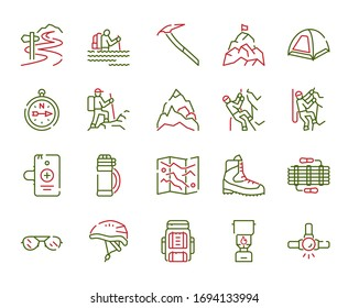 Vector color linear icon set of rock climbing. Outline symbol collection of alpinism, mountaineering, equipment, hiking, tourism, outdoor hobby concept. Modern thin line flat elements for website, app