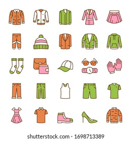Vector color linear icon set of clothing and accessory. Outline symbol collection of clothes, fashion, wardrobe, online boutique, clothing store concept. Modern thin line flat element for website, app
