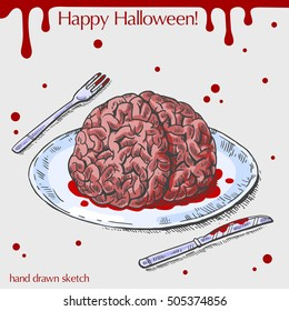 Vector color linear illustration of human brain on the plate,blood stains,text Happy Halloween on the grey background.Hand drawn sketch of the brain,fork,knife.Image in vintage style for your design.