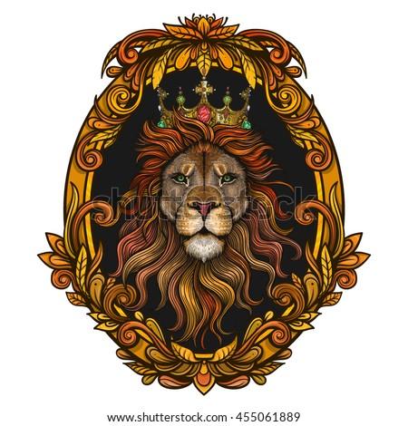 vector color lion king illustration のベクター画像素材