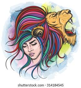 Vector Color Lion Woman Illustration