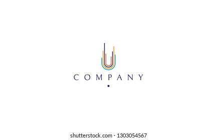 Vector color logo on which is an abstract image of a developing city.