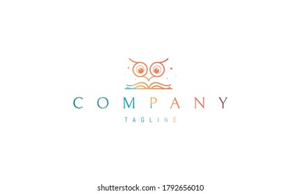 Vector color logo on which an abstract image of the head of an owlet with big eyes and a book that represents learning.