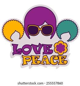 vector color logo with three hippie