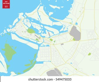 Vector color map of Abu Dhabi, UAE. City Plan of Abu Dhabi. Vector illustration