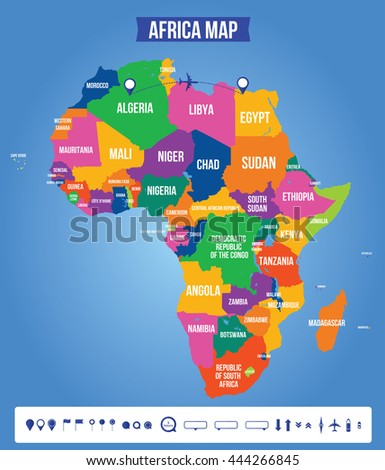 Vector Color Map Africa All Objects Stock Vector Royalty Free