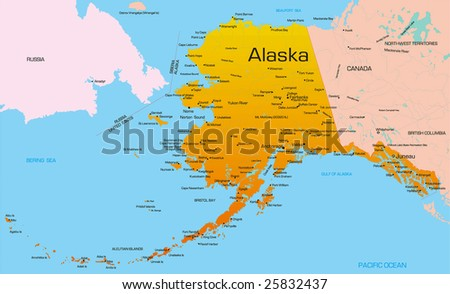 Vector Color Map Alaska State Usa Stock Vector (Royalty Free ...