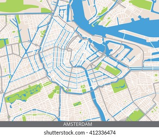 Vector color map of Amsterdam, the capital of Netherlands (Holland). All objects are located on separate layers. Elements of this image are furnished by NASA.