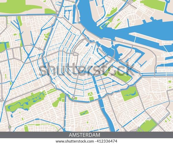 Vektori Vari Kartta Amsterdam Paakaupunki Alankomaiden