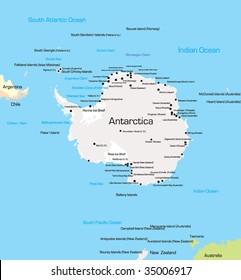 Antarctica Political Map South Pole Scientific Stock Vector Royalty