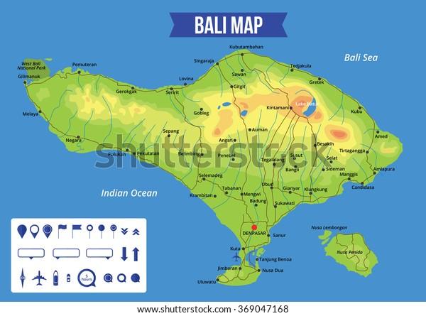 Vector Color Map Bali Capital Denpasar Stock Vector (Royalty ...