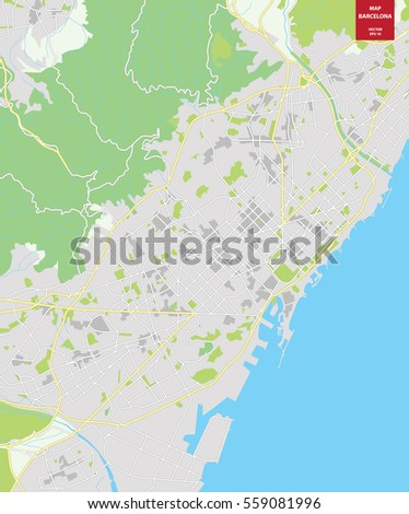 Barcelona In Spain Map.Vector Color Map Barcelona Spain City Stock Vector Royalty Free