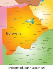 Vector color map of Botswana