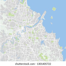 Vector color map of Brisbane, Australia. City Plan of Brisbane. Vector illustration