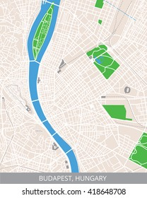 Vector color map of Budapest, the capital of Hungary. All objects are located on separate layers. Elements of this image are furnished by NASA.