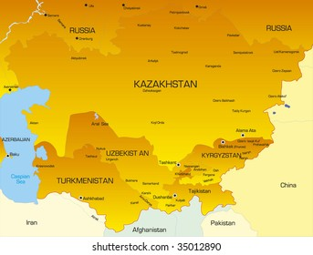 Vector color map of Central Asia countries