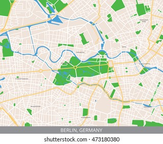 Vector color map of central Berlin, the capital of Germany. All objects are located on separate layers.
