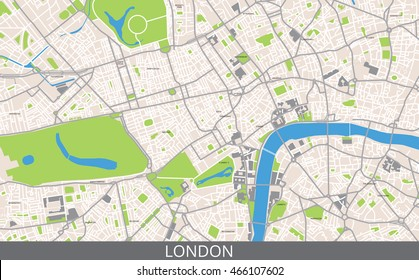 Vector color map of Central London. All objects are located on separate layers.