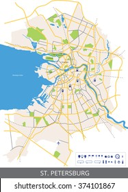 Vector color map of the centre of St. Petersburg, Russia with main roads and railways. All objects are located on separate layers.