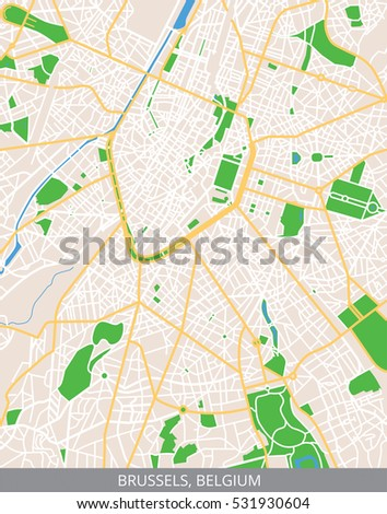 Vector Color Map City Center Brussels Stock Vector (Royalty Free ...