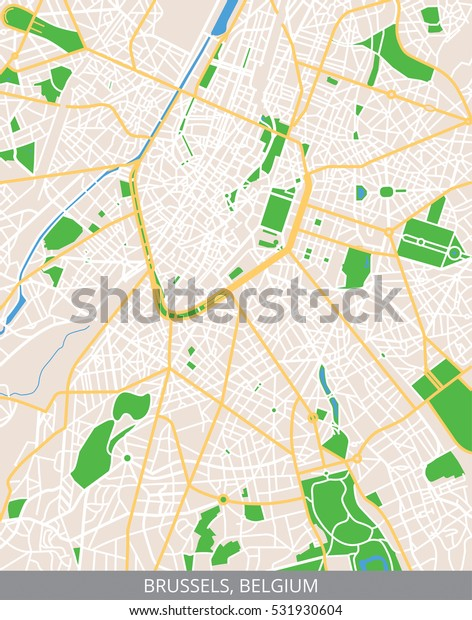 Vector Color Map City Center Brussels Stock Vector (Royalty ...