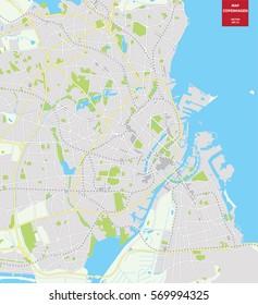 Vector color map of  Copenhagen, Denmark. City Plan of Copenhagen. Vector illustration